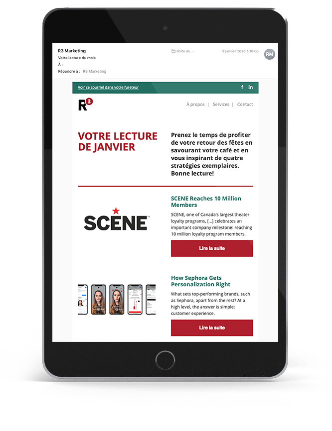 Tablette présentant l'infolettre de R3 Marketing