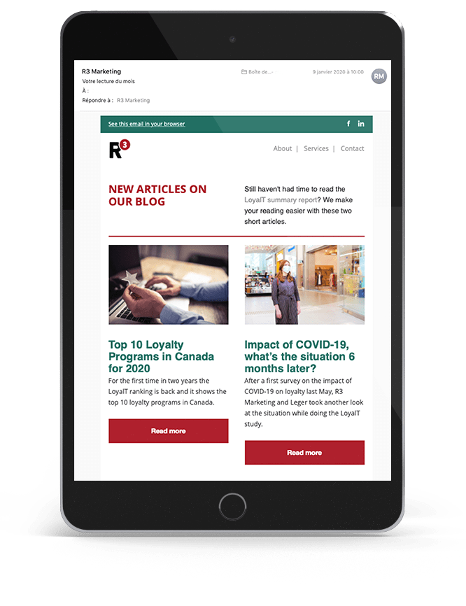 R3 Marketing newsletter, tablet preview
