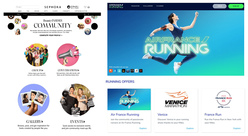 Images illustrant Sephora et de sa communauté Beauty Insider ainsi que Air France Running